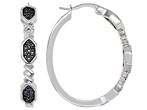 Pre-Owned Emulous™ 0.25ctw Round Black Diamond Rhodium Over Brass Hoop Earrings