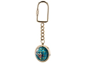 Pre-Owned Gemstone Globe Keychain with Bahama Blue Color Opalite Ocean and Gold Tone Keychain