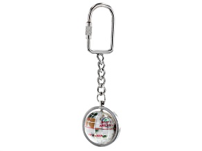 Pre-Owned Gemstone Globe Keychain with Opal Color Opalite Globe and Silver Tone Keychain