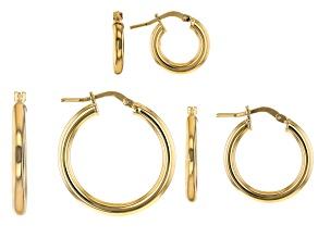 Pre-Owned Moda Al Massimo™ 18K Yellow Gold Over Bronze Set of 3 10MM-15MM-20MM Tube Hoop Earrings