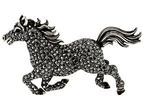 Pre-Owned Black Swarovski Elements ™ Gunmetal Tone Horse Brooch