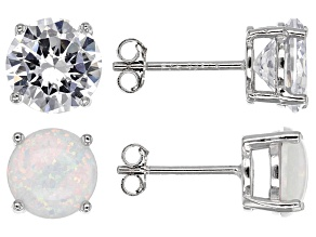 Pre-Owned Synthetic Opal And White Cubic Zirconia Rhodium Over Sterling Silver Earrings 9.04ctw