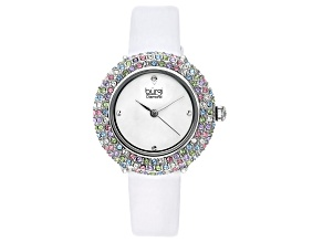 Pre-Owned Burgi™ Diamond Accents & Crystals From Swarovski™ White Satin Over Leather Band Watch
