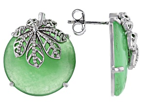 Pre-Owned Pacific Style™ 20mm Round Jadeite Rhodium Over Sterling Silver Earrings