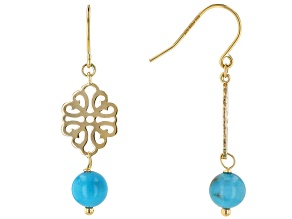 Pre-Owned Blue Turquoise 10k Yellow Gold Dangle Earrings