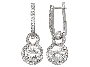 Pre-Owned White Lab Sapphire Rhodium Over Sterling Silver Earrings 3.13ctw