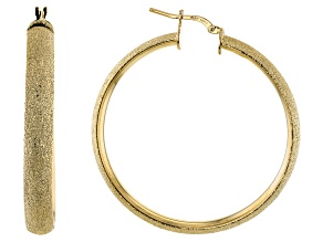 Pre-Owned 18K Yellow Gold Over Bronze 50MM Textured Tube Hoop Earrings