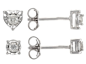Pre-Owned White Diamond Rhodium Over Sterling Silver Round And Heart Stud Earrings Set 0.20ctw
