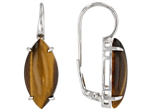 Pre-Owned Brown Tiger's Eye Rhodium Over Sterling Silver Lever Back Earrings