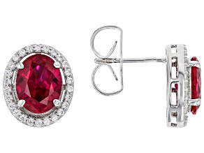 Pre-Owned Red Lab Created Ruby And White Cubic Zirconia Rhodium Over Sterling Silver Earrings 4.83ct