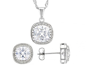 Pre-Owned White Cubic Zirconia Rhodium Over Sterling Silver Pendant With Chain And Earrings 9.35ctw