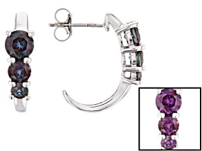 Pre-Owned Blue lab created alexandrite rhodium over silver earrings 1.74ctw