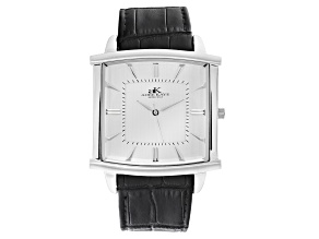 Pre-Owned Adee Kaye™ Gent's Stainless Steel Silver Tone Dial And Black Leather Band Watch.