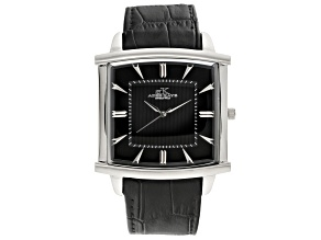 Pre-Owned Adee Kaye™ Gent's Stainless Steel Black Tone Dial And Black Leather Band Watch