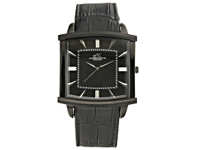 Pre-Owned Adee Kaye™ Gent's Black Stainless Steel Black Tone Dial And Black Leather Band Watch.