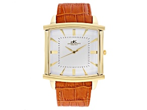 Pre-Owned Adee Kaye™ Gent's Gold Tone Stainless Steel White Dial And Brown Leather Band Watch.