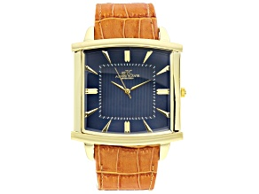 Pre-Owned Adee Kaye™ Gent's Gold Tone Stainless Steel Blue Dial And Brown Leather Band Watch.