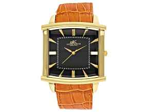 Pre-Owned Adee Kaye™ Gent's Gold Tone Stainless Steel Black Dial And Brown Leather Band Watch