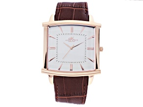 Pre-Owned Adee Kaye™ Gent's Rose Tone Stainless Steel Silver Tone Dial And Dark Brown Leather Band W