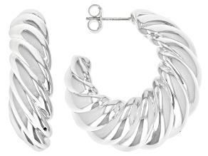 Pre-Owned Sterling Silver Scalloped Graduated Hoop Earrings