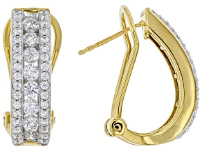 Pre-Owned White Cubic Zirconia 18K Yellow Gold Over Sterling Silver Earrings 2.96ctw