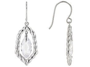 Pre-Owned White Cubic Zirconia Rhodium Over Sterling Silver Earrings 8.44ctw