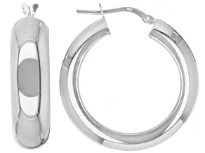 Pre-Owned Sterling Silver 7x20MM Polished Squared Tube Hoop Earrings