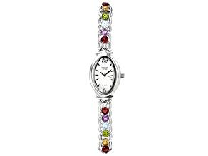 Pre-Owned Multi-Gemstone Rhodium Over Brass Watch 6.01ctw