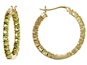 Pre-Owned Green vesuvianite 18k gold over silver inside/outside hoop earrings 2.20ctw
