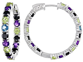 Pre-Owned Purple amethyst rhodium over silver hoop earrings 8.23ctw