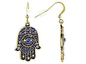 Pre-Owned Multicolor Crystal Antiqued Gold Tone Hamsa Hand Earrings