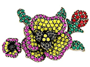 Pre-Owned  Multicolor Crystal Antiqued Gold Tone Pansy Brooch