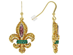 Pre-Owned Multicolor Crystal Gold Tone Fleur de lis Earrings
