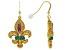 Pre-Owned Multicolor Crystal Gold Tone Fleur de lis Earrings