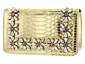 Pre-Owned Gold Tone Faux Snakeskin Clutch
