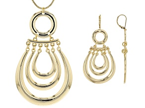 Pre-Owned Gold Tone Statement Necklace And Dangle Earrings Set