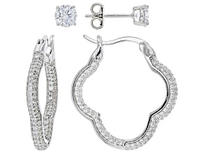 Pre-Owned White Cubic Zirconia Rhodium Over Sterling Silver Earring Set 3.99ctw