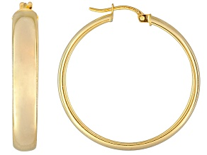Pre-Owned Polished 18k Yellow Gold Over Sterling Silver Round Hoop Earrings