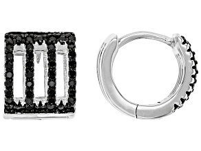 Pre-Owned Black Spinel Rhodium Over Sterling Silver Huggie Earrings 0.47ctw