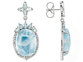 Pre-Owned Blue Larimar Sterling Silver Dangle Earrings 4.10ctw