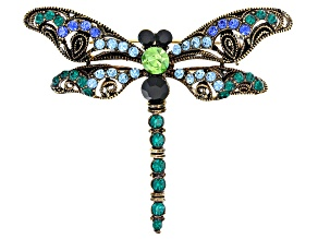 Pre-Owned Off Park ® Collection Multicolor Swarovski Elements ™ Antiqued Gold Tone Dragonfly Brooch