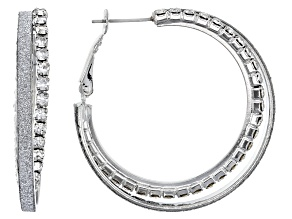Pre-Owned White Crystal Silver Tone Shimmer Hoop Earrings