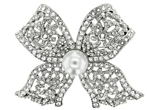 Pre-Owned Swarovski Elements™ With Pearl Simulant Silver Tone Bow Brooch
