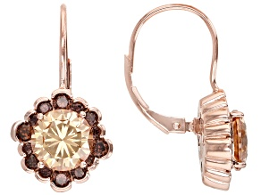 Pre-Owned Champagne and Mocha Cubic Zirconia 18k Rose Gold Over Sterling Silver Earrings 7.75ctw