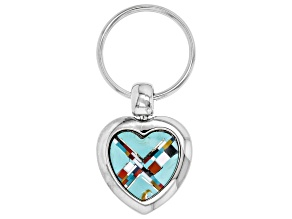 Pre-Owned Turquoise Simulant And Multi-Gem Simulant Silver Tone Heart Key Chain