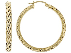 Pre-Owned 14K Yellow Gold 1.5 Inch Wheat Border Hoop Earrings