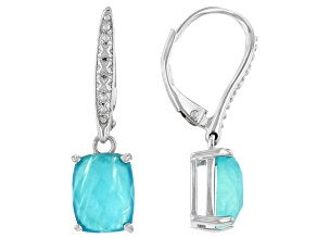 Pre-Owned Blue Amazonite Rhodium Over Sterling Silver Dangle Earrings