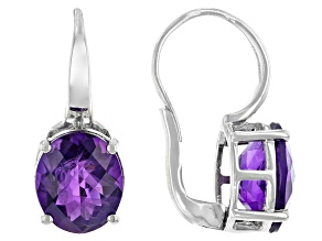 Pre-Owned Purple Amethyst Rhodium Over Sterling Silver Solitaire Earrings 5.44ctw