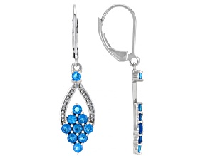 Pre-Owned Blue Neon Apatite Rhodium Over Sterling Silver Dangle Earrings 1.45ctw