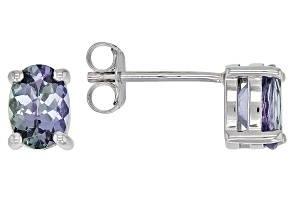 Pre-Owned Teal Tanzanite Rhodium Over Silver Stud Earrings 1.35ctw